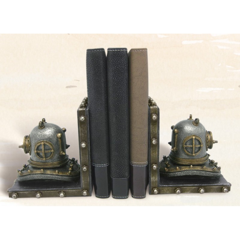Diving Helmet Nautical Bookends