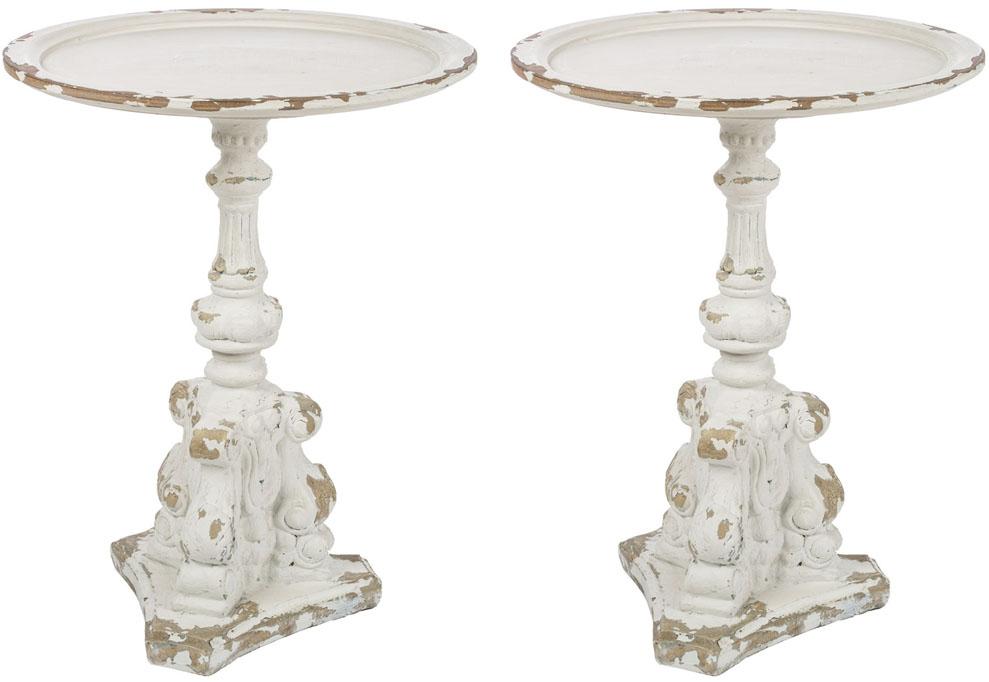 White Distressed Pedestal Side Table Set