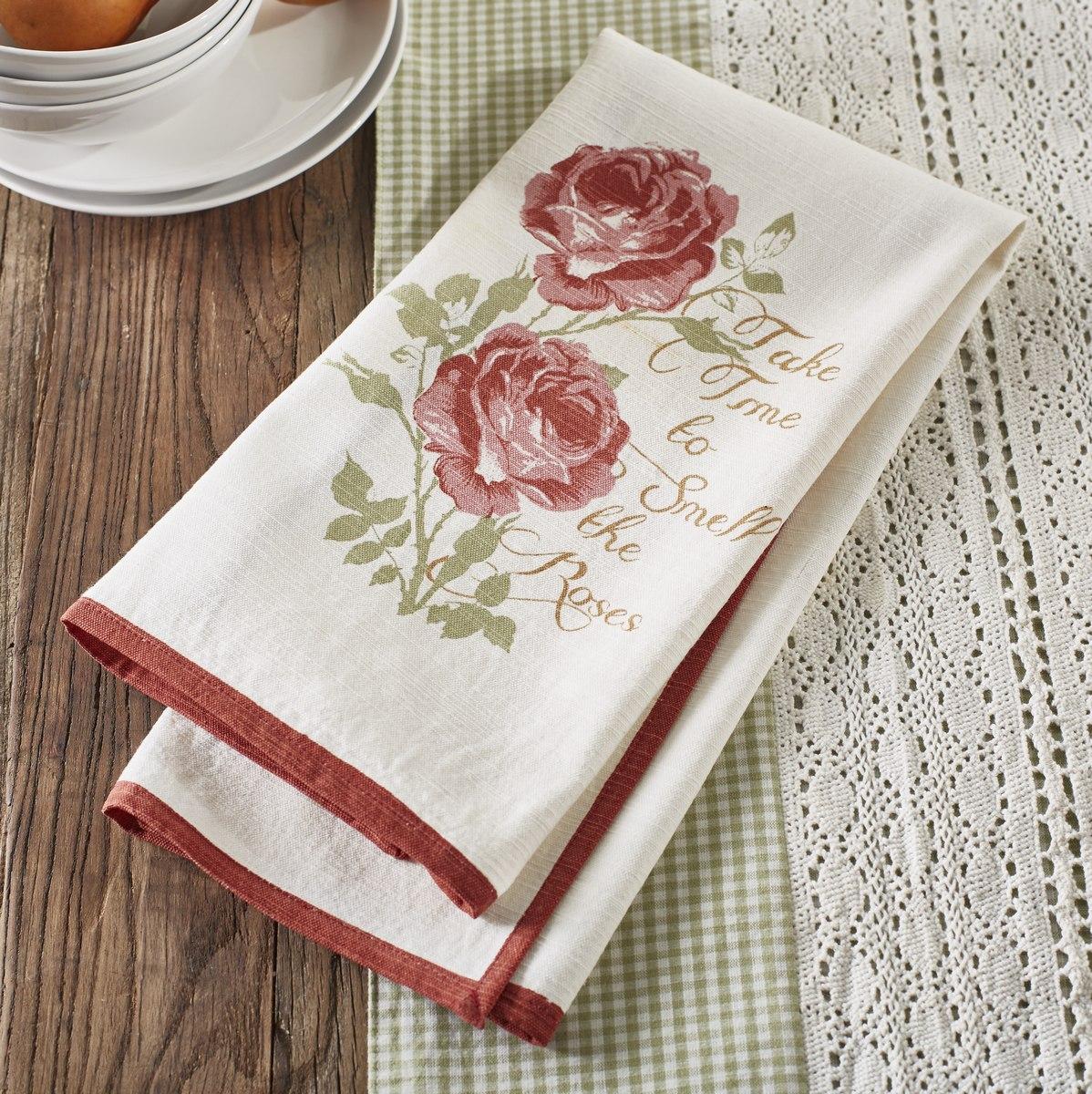 Smell Roses Kitchen Dish Towel Set
