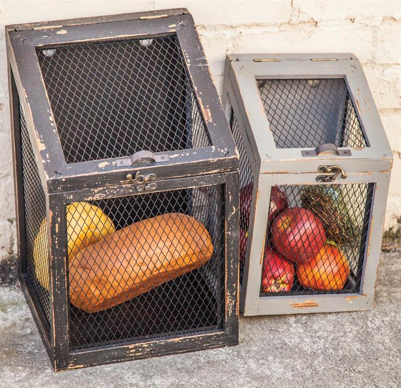 Distressed Storage Bins Set of 2
