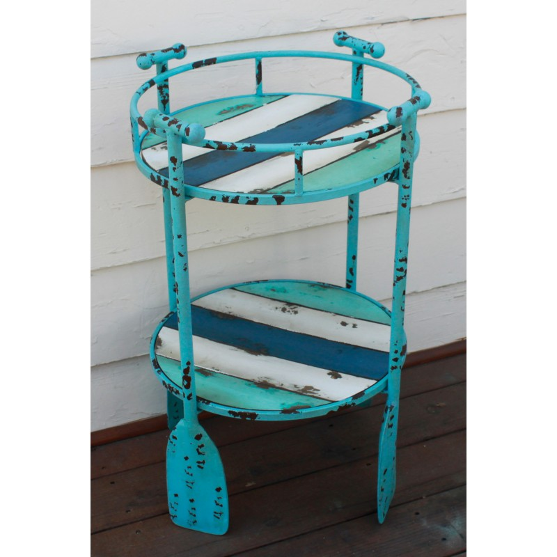 Boat Paddle Metal Accent Table 2 Tier