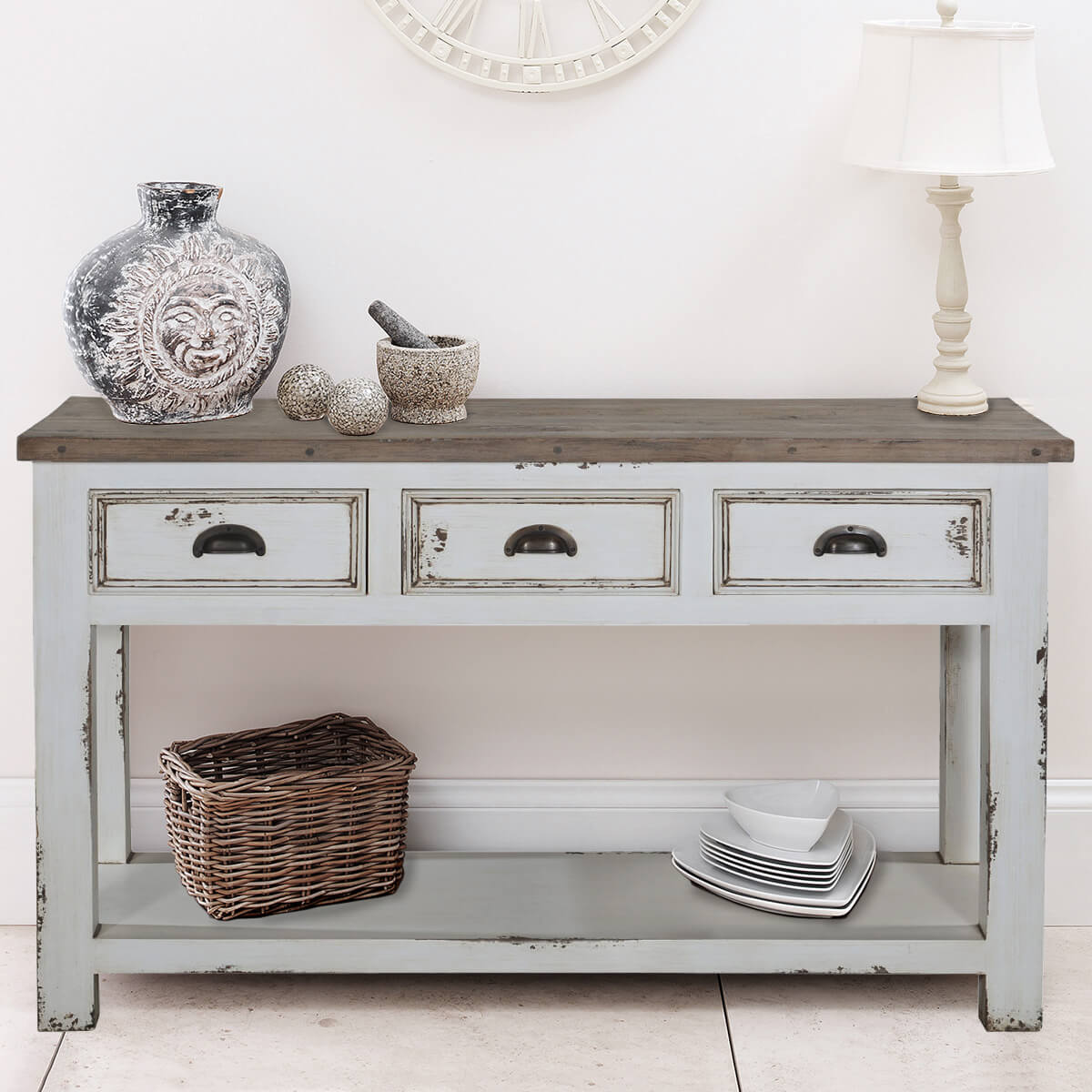 White Distressed Recycled Teak & Solid Wood Console Table
