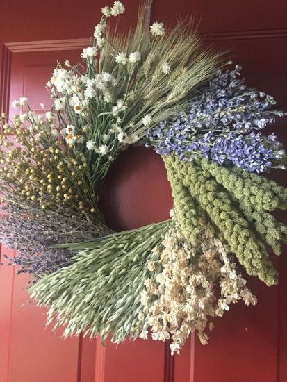 "19"" Dried Wreath Lavender Wheat Mix"