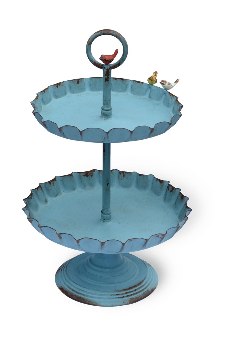 2 Tier Tray Stand Perched Birds Distressed Blue