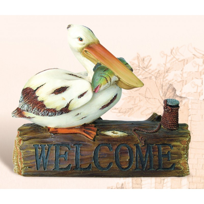 Pelican on Welcome Log Statue