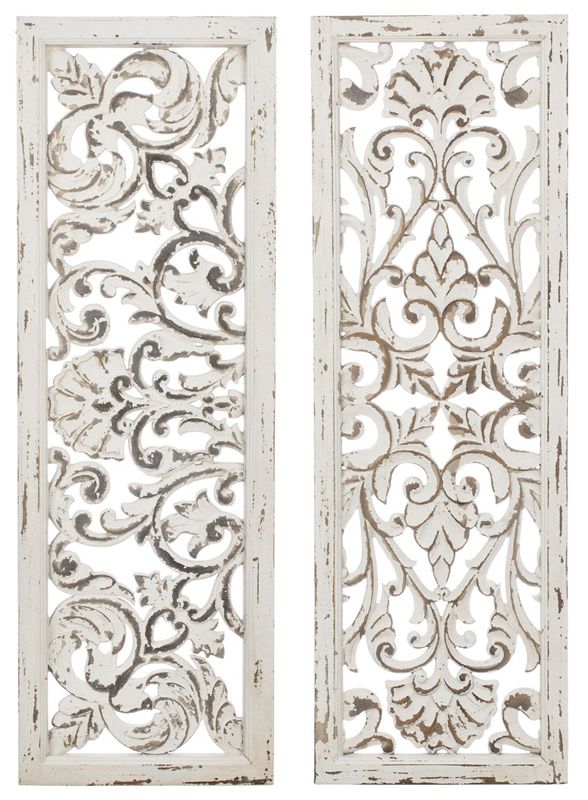 Distressed White Panel Wall Sculpture Set