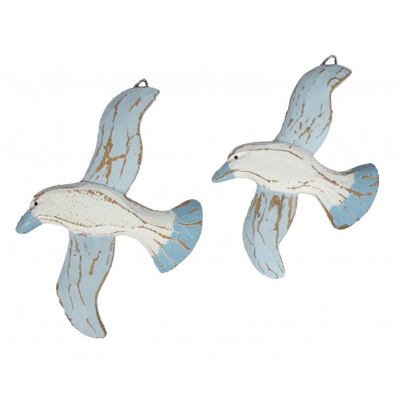 Wood Wall Hanging Seagulls Set of 2 Blue White